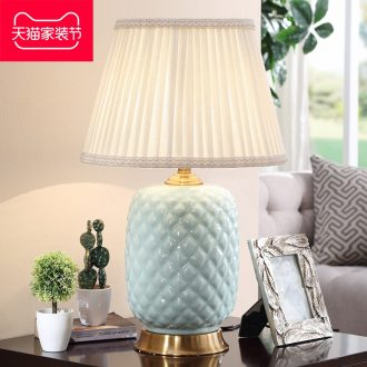Long three American ceramic desk lamp manual ceramic retro contracted sitting room lamps and lanterns of big desk lamp of bedroom the head of a bed