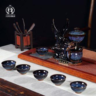 DH jingdezhen tea sets semi-automatic kung fu tea tea tea to household lazy creative cup set of cups