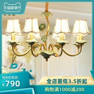 American rural droplight ceramic all copper lamp contracted and contemporary sitting room light creative personality restaurant bedroom lighting lamps and lanterns