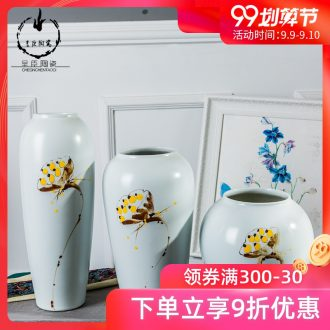 Home decoration Chinese vase furnishing articles three-piece hand-painted jingdezhen ceramic vases, flower arrangement craft small place