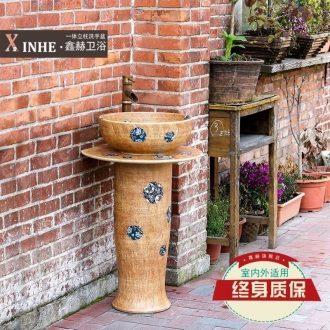 Jingdezhen ceramic column type lavatory under glaze color art basin one simple toilet ground sink