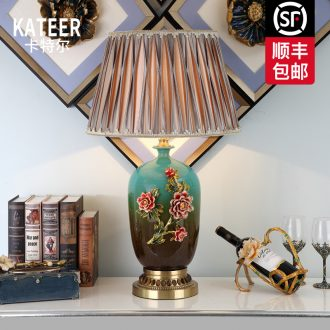 Cartel European American luxury full copper lamp colored enamel ceramic desk lamp of bedroom the head of a bed sitting room adornment villa