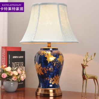 American ceramic desk lamp restoring ancient ways of classical luxury atmosphere contracted sitting room bedroom modern archaize cloth art adornment lamp
