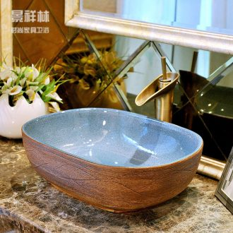 The stage basin ceramic art rectangle household lavatory basin basin bathroom European contracted the sink