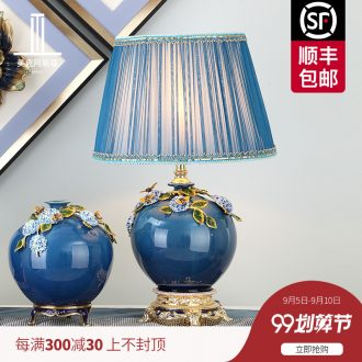 New Chinese style colored enamel porcelain lamp type luxurious sitting room lamps and lanterns of bedroom the head of a bed creative villa lighting