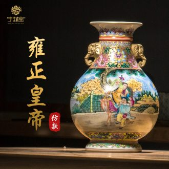 Better sealed kiln jingdezhen ceramic big vase furnishing articles sitting room new Chinese antique hand-painted pastel elephant statue of ornaments