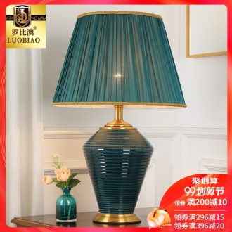 European-style bedroom nightstand lamp simple modern creative American warm warm light household light luxury ceramic lamps and lanterns