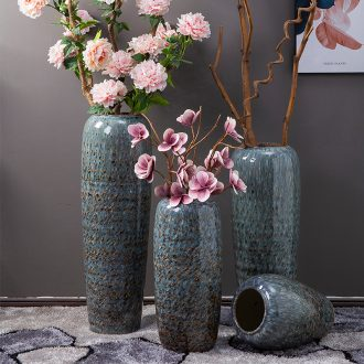 Jingdezhen ground vase sitting room decoration to the hotel company flower arranging Chinese style porch place large zebra LuHua bottles