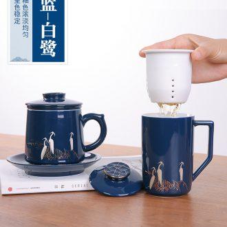 Glaze ceramic tea cup tea cup with cover filtration separation of tea cup office glass tea cup