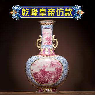 Ning sealed kiln jingdezhen ceramics vase enamel paint Chinese antique hand-painted process rich ancient frame place adorn article