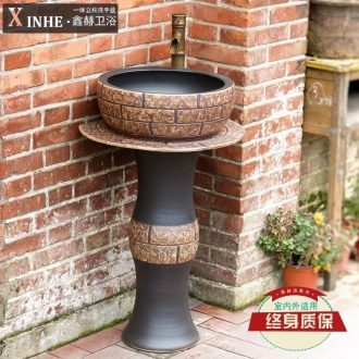 Pillar type toilet lavabo ceramics basin integrated industrial wind landing balcony toilet set pool washing column basin