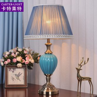 Lamp decoration American ceramic desk lamp of bedroom the head of a bed is contracted household creative modern marriage room warm light sweet romance