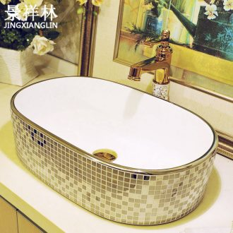 Continental basin ceramic household sink art on the square basin sink silver Mosaic