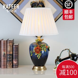Cartel European American luxury colored enamel lamp creative living room full of bedroom the head of a bed copper ceramic lamp act the role ofing villa