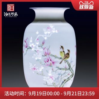 Jingdezhen ceramic hand-painted dry flower vases, contemporary and contracted household bedroom new Chinese style living room decorative furnishing articles