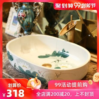 Jingdezhen rain spring basin art ceramics on elliptic basin suit lavatory toilet lavabo