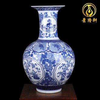 Jingdezhen ceramics antique blue and white porcelain vase large sitting room of Chinese style household flower arranging desktop ornaments furnishing articles