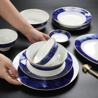 Inky chengyang district phnom penh bone porcelain tableware suit jingdezhen creative dishes suit suit household jobs plate