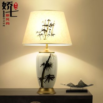 Chinese ceramic lamp berth lamp of the study of new Chinese style bedroom vase decoration lamp retro lamps and lanterns of zen