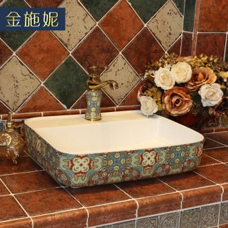 The stage basin square wash basin of household toilet lavabo Europe type restoring ancient ways of ceramic art basin lavatory basin