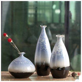Art show European Mediterranean modern jingdezhen ceramic color glaze vase three-piece sitting room place ornament