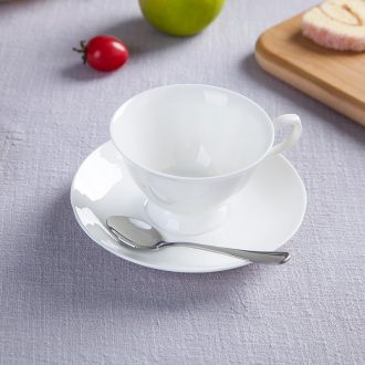 Pure white bone porcelain of jingdezhen ceramic cup tea coffee set suit European contracted coffee cups and saucers