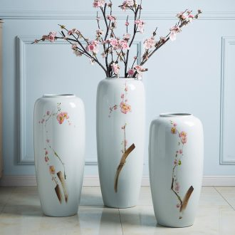 Jingdezhen ceramic vases, flower arrangement sitting room ground large dried flowers white ceramic porcelain ornaments porch decoration