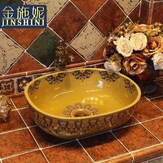 Gold cellnique European art basin ceramic lavatory on its color toilet lavabo household basin