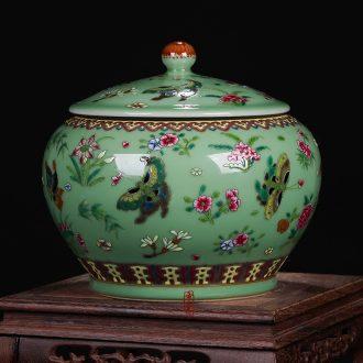 Jingdezhen ceramics pea green glaze antique hand-painted enamel butterfly storage tank cylinder barrel seeds wedding gift