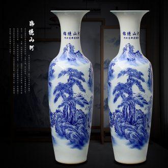 Chinese blue and white porcelain of jingdezhen ceramics sitting room of large hotel opening large vases, decorative gifts furnishing articles