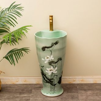 Outdoor garden ceramics column basin of the balcony floor type lavatory household toilet lavabo lotus