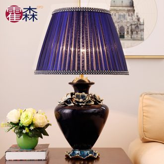 American desk lamp fashionable sitting room warm and romantic decoration study of bedroom the head of a bed jingdezhen porcelain enamel lamp
