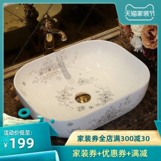 Jingdezhen ceramic stage basin art circle toilet basin that wash a face to wash your hands European contracted elliptical rectangle basin