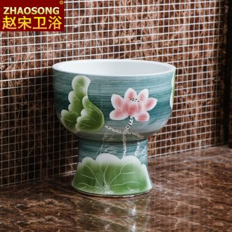 Chinese style restoring ancient ways ceramic mop pool bathroom large European mop pool mop basin outdoor balcony mop pool