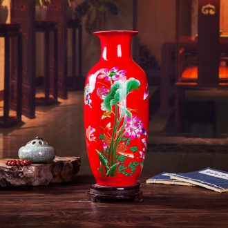 Jingdezhen ceramics blooming flowers red vase peony bottle home living room decoration handicraft furnishing articles