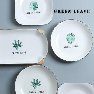 Ceramic plates home eat breakfast tray European contracted dish jingdezhen bone porcelain tableware dumplings plate plate plate