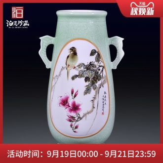 Jingdezhen ceramic hand-painted flowers and birds all ears large vases, flower arranging rich ancient frame of Chinese style household adornment collection furnishing articles