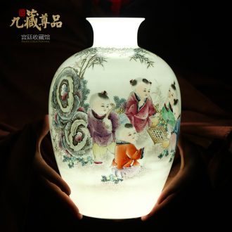New Chinese style household hand-painted vases, the sitting room porch jingdezhen ceramics TV ark decoration crafts are arranging flowers