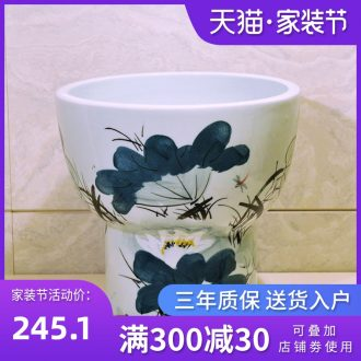 Package mail European contracted jingdezhen conjoined art basin - mop mop pool, mop pool & ndash; Hand painted lotus