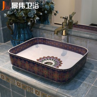 The sink basin sinks art on the square ceramic Europe type toilet of wash basin basin purple orchid emotional appeal