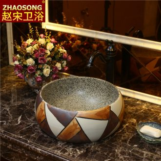 Basin of Chinese style of song dynasty on the sink in the Nordic square contracted household bathroom ceramic color wash basin