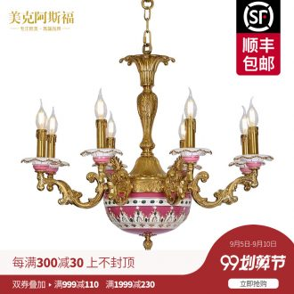 French pastoral romance all copper ceramic chandeliers european-style luxury sitting room dining-room palace villa creative retro lamps and lanterns