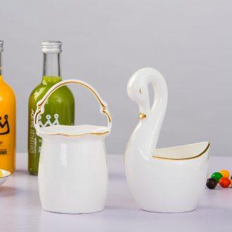 Jingdezhen kitchen shelf bone China phnom penh chopsticks chopsticks box ceramics cutlery receive basket swan