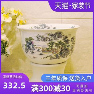 Selling packages mailed European rural jingdezhen art basin - mop mop pool, mop pool & ndash; Landscape figure