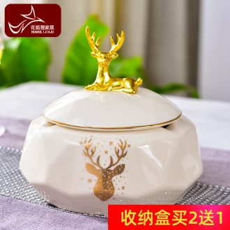 European style living room ashtray creative personality trend home furnishing articles tea table with cover female American ceramic restoring ancient ways is large