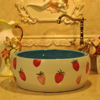 New fashionable sanitary waist drum jingdezhen art basin lavatory basin stage basin sink - fresh strawberries