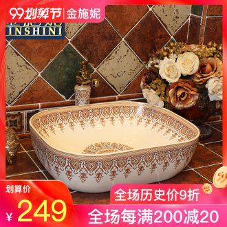 Gold cellnique white art ceramic stage basin sink European luxuriant sinks of the basin that wash a face numerous wreath