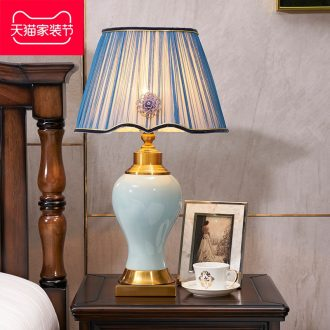 Long three American desk lamp of bedroom the head of a bed sitting room handmade ceramic Europe type restoring ancient ways the study hall big table lamps and lanterns