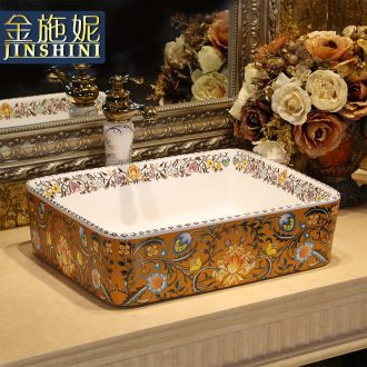 Gold cellnique ceramics stage basin rectangle lavatory washbasins European art basin bathroom sink