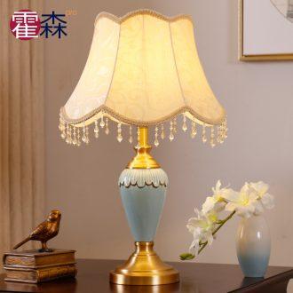 European contracted ceramic full copper luxurious sitting room bedroom berth lamp decoration lamp show originality romantic warmth